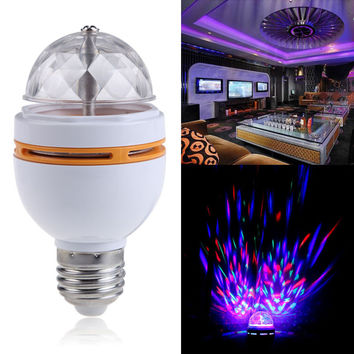 E27 Colorful RGB LED Rotating Stage Disco Crystal LED Bulb Lamp Light Disco Lights Laser Party DMX Stage Light