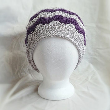 crochet slouch hat spring chevron cotton cloche hat shell fan pattern grey purple