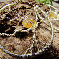 Citrine Stone Tree of Life Hoop Earrings! Wire Wrapped Hoop Earrings with Yellow Citrine Stone Gemstone Earrings~Beautiful Boho Jewelry!