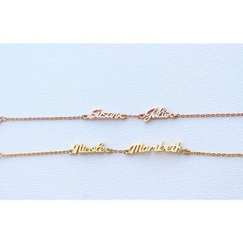 Rose Gold Color Double Personalized Name Bracelet Women Body Jewelry Custom Nameplate Letters Charm Bracelets Gifts For Lovers