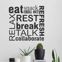 Break Room Word Collage | Wall Lettering | Vinyl Office Decals