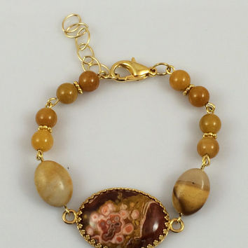 Mexican Lace Agate Cabochon Bracelet with Moukaite, Yellow Jade and Gold Plated Beads -- Product B021