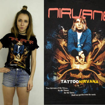 Nirvana T Shirt / Black Kurt Cobain top / Nirvana fan shirt / Front and back print nirvana  t shirt