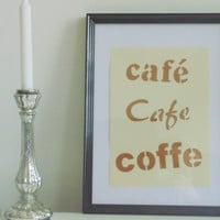 Café - brown on light yellow - DIN A4 - Wall Art Print handmade written - original by misssfaith
