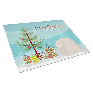 Fluffy Angora Rabbit Christmas Glass Cutting Board Large BB9326LCB