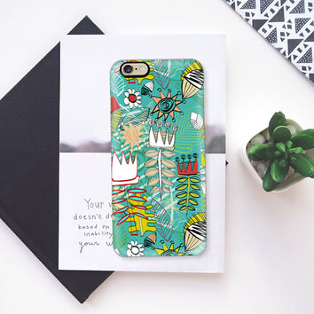 wired weed turquoise blue iPhone 6s case by Sharon Turner | Casetify