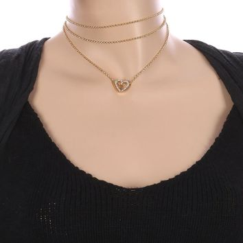 Clear Metal Heart Charm Three Chain Choker Necklace