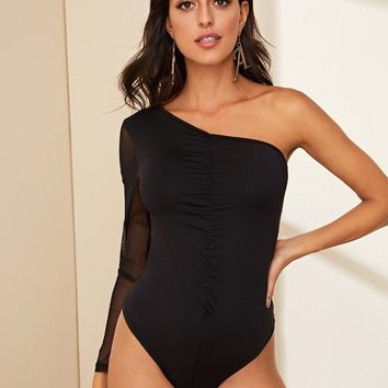 One Shoulder Mesh Sleeve Ruched Bodysuit