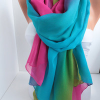 Tropical Multicolor Soft Cotton Scarf oversize scarf long scarf shawl beach skirt tropical summer accessories