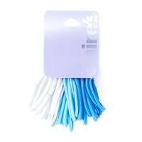 Blue and White Ponytail Holders Set of 30
