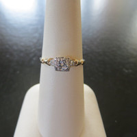 14K Yellow Gold Art Deco Engagement Ring