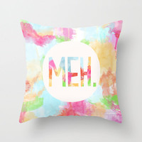 "Decorative Pillow Cover ""Meh."", Home Decor,Bedroom,Living Room,Throw Pillow,Dorm,Colorful,Funny,Humor,Watercolor"