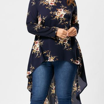 CharMma 2018 New Plus Size Tiny Floral High Low Hem Blouse Crew Neck Casual Full Sleeve Plus Size Long Shirt for Women Blouse