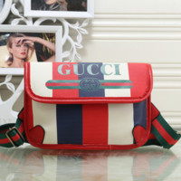 GUCCI Women Leather Fashion Waist Bag Shoulder Bag Crossbody Satchel