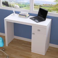 Modena Classic Work Desk with 1- Drawer and 1-Door in White