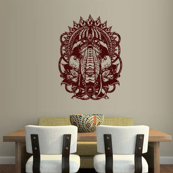 Wall Vinyl Sticker Decals Decor Art Bedroom Design Mural Ganesh Om Elephant Tattoo Head Mandala Tribal (z2378)