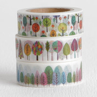 Choose One Colorful Trees Washi Tape, Candy Trees Nature Woodland Decorative Planner Washi Tape 15mm
