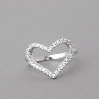 WHITE GOLD HEART RING CZ HEART RING ENGAGEMENT HEAT SHAPE RING HEART S