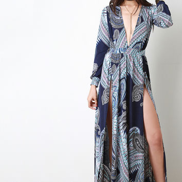 Bohemian Plunging V Cuff Sleeves High Slit Dress