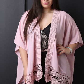 Semi-Sheer Chiffon Crochet Cardigan