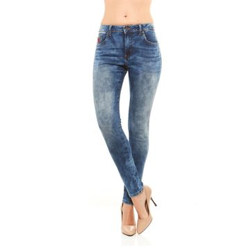 Seamless Soft Denim Mid-Rise Jeans with Faded Floral Pattern