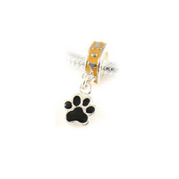 Sterling Silver Dog Cat Foot Print European Bracelet Charm