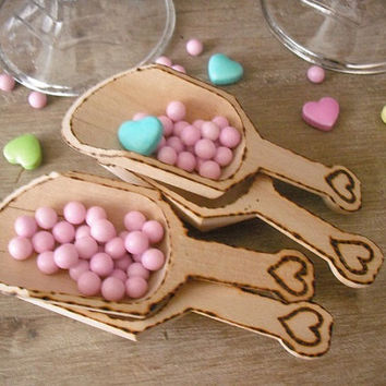6  Wooden Scoops ... Wood Burned with hearts .... WEDDING Candy Buffet ... Rustic Chic