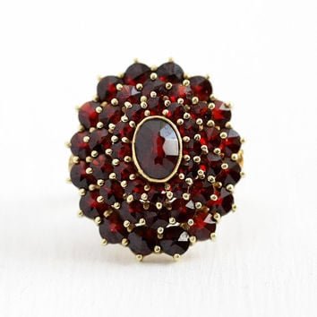 Vintage Garnet Ring - 14k Yellow Gold Red Gemstone Halo Cluster - Retro Size 6 3/4 Rose Cut January Birthstone Statement 1940s Fine Jewelry