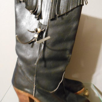 Vintage Black Fringe Cowgirl Tall Boots
