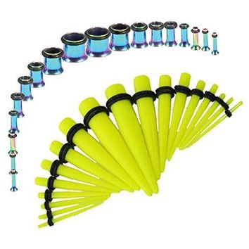 BodyJ4You Gauges Kit Neon Yellow Tapers Rainbow Plugs Steel 14G-00G Stretching Set 36 Pieces