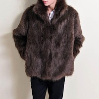 Men Large Yards Thick Mink Coat Men's Fur Lapel Coat Casual Winter Imitation Fox Fur Tide Thick Faux Fur Solid