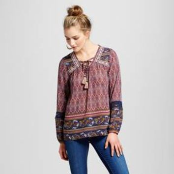 Women's Embroidered Border Print Peasant Top - Knox Rose™