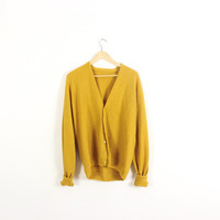 Vintage wool cardigan sweater.  Classic. Preppy. Oversized and slouchy. Wool cardigan. Mustard yellow. XL
