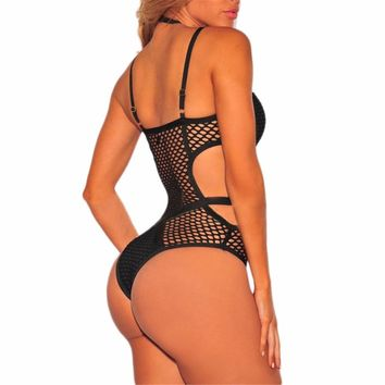 2018 New Sexy Mesh sheer strappy one piece swimsuit Women swimwear Female Bather Bathing suit swim wear Halter monokini K536