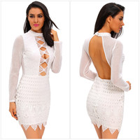 Sexy Hollow Out Backless Fashion Bodycon Dress