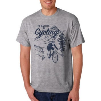 Mens Vintage Style I'd Rather Be Cycling Tshirt