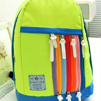 Rainbow Color Zips Sport Backpack Green from topsales