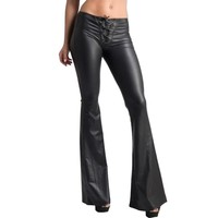 Women's Fashion Lace Up Slim Fit Trousers Female Flared Bell-bottom PU Leather Pants