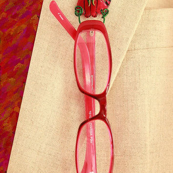Christmas Cat Magnetic Eyeglass Holder in Red or Green