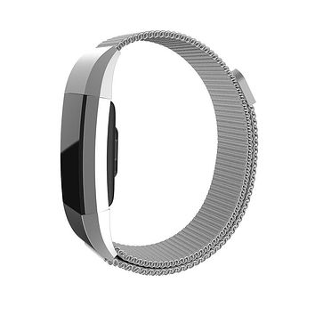 Magnetic Milanese Loop Adjustable Wrist Strap Bracelet Stainless Steel Watch Band Closure for Fitbit Charge 2