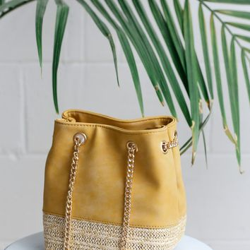 Frutta Mustard Yellow Suede Bucket Bag