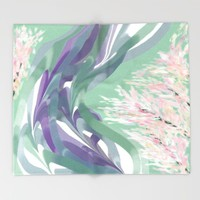 Deep Ocean River Abstract In Soft Green and Purple Throw Blanket by Jen Warmuth Art And Design