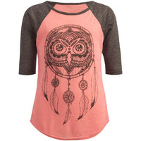 Full Tilt Owl Dreamcatcher Girls Baseball Tee Grey/Coral  In Sizes