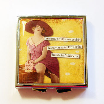 Funny Pill Case, Funny Pill Box, Square Pill case, pill case, funny women, 4 Sections, Square Pill box, sassy women, yellow, dumb ass (4342)