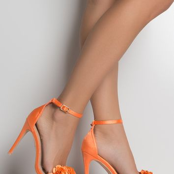 AKIRA Faux Suede High Stiletto Heel Open Toe Ankle Strap Floral Detailed Sandal in Nude Red, Orange Satin