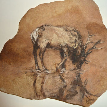 Elk Reflexions - Hand painted Original on natural sandstone with tree branch stand