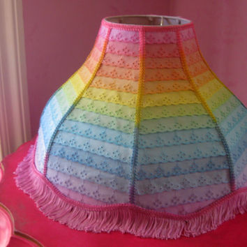 Large Rainbow Lamp Shade - Hand Dyed Eyelet Ombre Scalloped Ruffle Lampshade