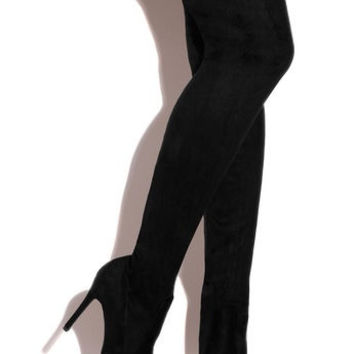 Per-Suede-Sion Black Faux Suede Stretch Thigh High Heel Boot
