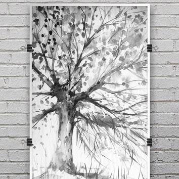 Abstract Black and White WaterColor Vivid Tree - Ultra Rich Poster Print