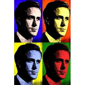 ACTOR RYAN GOSLING CELEBRITY pop art poster multiple images 24X36 INTENSE